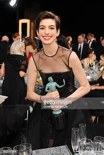Actress Anne Hathaway attends the 19th Annual Screen Actors Guild Awards at The Shrine Auditorium on January 27 2013 in Los Angeles California...
