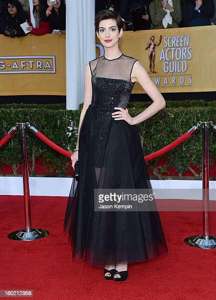 Actress Anne Hathaway attends the 19th Annual Screen Actors Guild Awards at The Shrine Auditorium on January 27 2013 in Los Angeles California