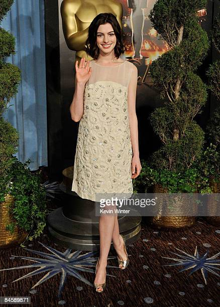 Actress Anne Hathaway attends the 2009 Oscar Nominees Luncheon held at the Beverly Hilton Hotel on February 2 2009 in Beverly Hills California