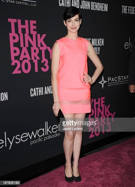 Actress Anne Hathaway attends the 2013 Pink Party at Hangar 8 on October 19 2013 in Santa Monica California