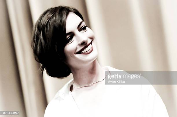 Actress Anne Hathaway attends the 26th Annual Palm Springs International Film Festival Film Festival Awards Gala at Palm Springs Convention Center on...