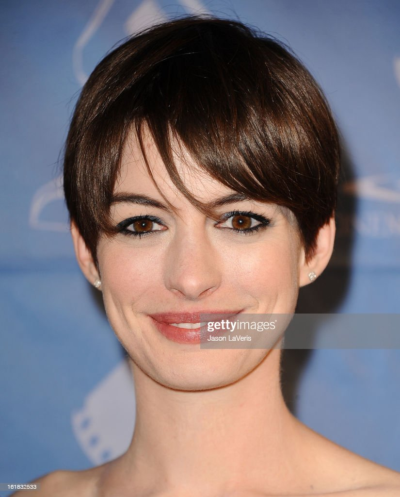 Actress Anne Hathaway attends the 49th annual Cinema Audio Society Guild Awards at Millennium Biltmore Hotel on February 16, 2013 in Los Angeles, California.