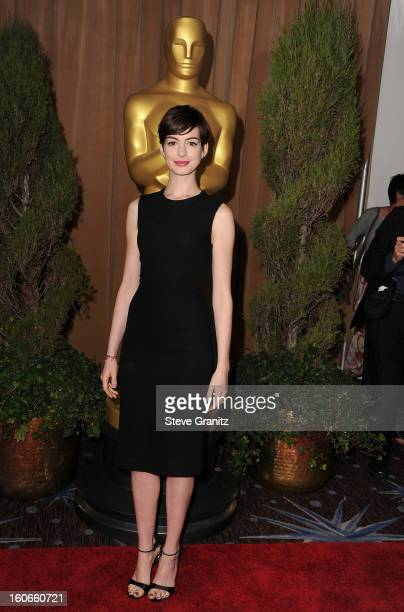 Actress Anne Hathaway attends the 85th Academy Awards Nominees Luncheon at The Beverly Hilton Hotel on February 4 2013 in Beverly Hills California