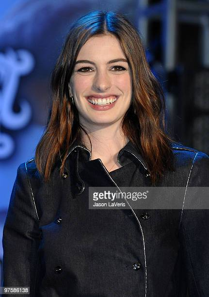 Actress Anne Hathaway attends the 'Alice In Wonderland' Great Big Ultimate Fan Event at Hollywood Highland Courtyard on February 19 2010 in Hollywood...