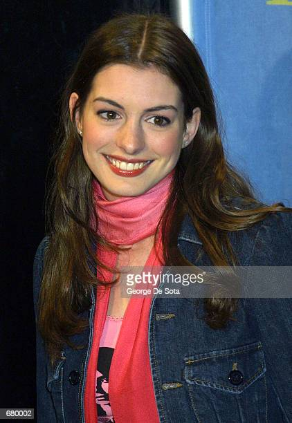 Actress Anne Hathaway attends the Britney Spears and Jive Records Release Party for Britney's new album Britney November 6 2001 in New York City