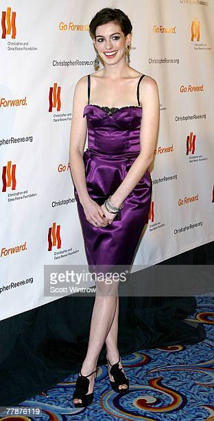 Actress Anne Hathaway attends The Christopher Dana Reeve Foundation's A Magical Evening Gala at the Marriot Marquis Harlem Room on November 12 2007...