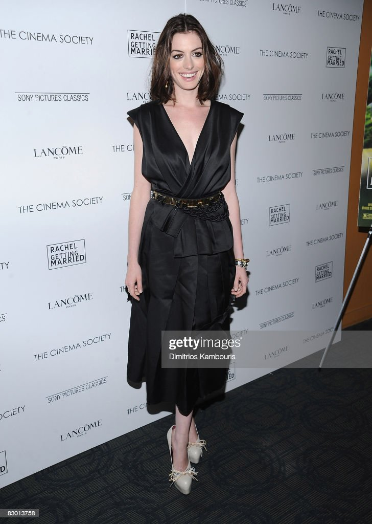 Actress Anne Hathaway attends the Cinema Society and Lancome screening of 'Rachel Getting Married' at the Landmark Sunshine Theater on September 25, 2008 in New York City.
