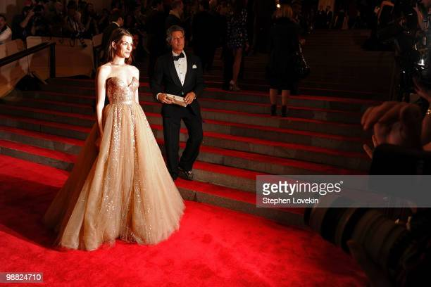 Actress Anne Hathaway attends the Costume Institute Gala Benefit to celebrate the opening of the 'American Woman Fashioning a National Identity'...
