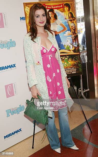 Actress Anne Hathaway attends the 'Ella Enchanted' film premiere at the Clearview Beekman Theatre March 28 2004 in New York City
