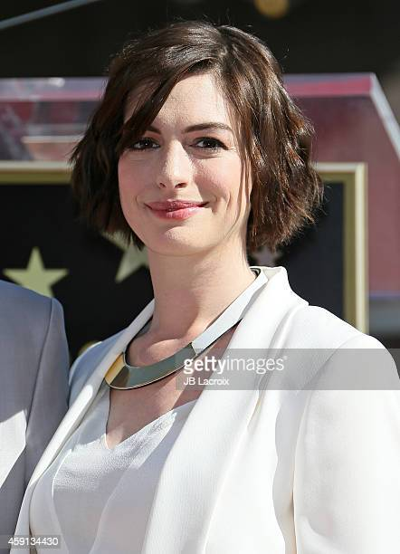 Actress Anne Hathaway attends The Hollywood Walk Of Fame ceremony for Matthew McConaughey on November 17 2014 in Hollywood California