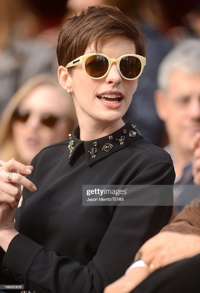 Actress Anne Hathaway attends the Hugh Jackman Hollywood Walk Of Fame ceremony on December 13, 2012 in Hollywood, California.