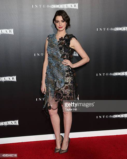 """Actress Anne Hathaway attends the """"Interstellar"""" New York Premiere at AMC Lincoln Square Theater on November 3, 2014 in New York City."""