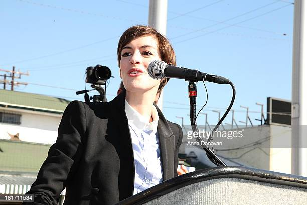 Actress Anne Hathaway attends the kick-off for One Billion Rising in West Hollywood on February 14, 2013 in West Hollywood, California.