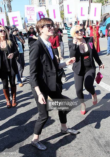 Actress Anne Hathaway attends the kickoff for One Billion Rising in West Hollywood on February 14 2013 in West Hollywood California