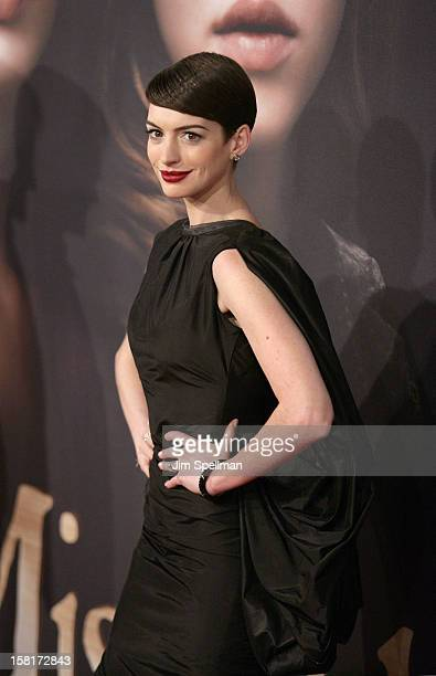 Actress Anne Hathaway attends the Les Miserables New York premiere at Ziegfeld Theatre on December 10 2012 in New York City