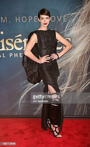 Actress Anne Hathaway attends the 'Les Miserables' New York premiere at Ziegfeld Theatre on December 10 2012 in New York City