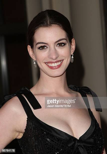Actress Anne Hathaway attends the Los Angeles premiere of Valentino The Last Emperor at the Bing Theatre at LACMA on April 1 2009 in Los Angeles...