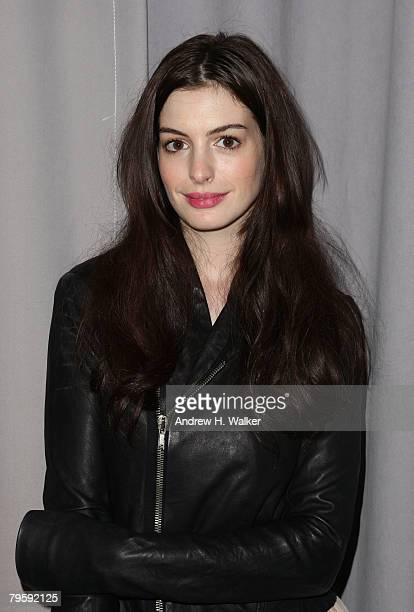 Actress Anne Hathaway attends the Marchesa Fall 2008 fashion show during MercedesBenz Fashion Week Fall 2008 at Chelsea Art Museum on February 6 2008...