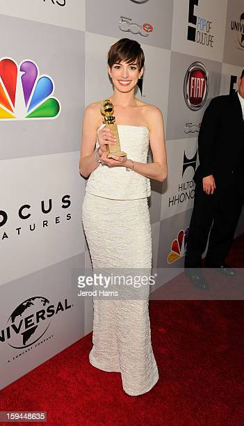 Actress Anne Hathaway attends the NBCUniversal Golden Globes viewing and after party held at The Beverly Hilton Hotel on January 13 2013 in Beverly...