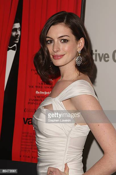 "Actress Anne Hathaway attends the New York Premiere of ""Valentino: The Last Emperor"" at The Museum of Modern Art in the The Roy and Niuta Titus I..."