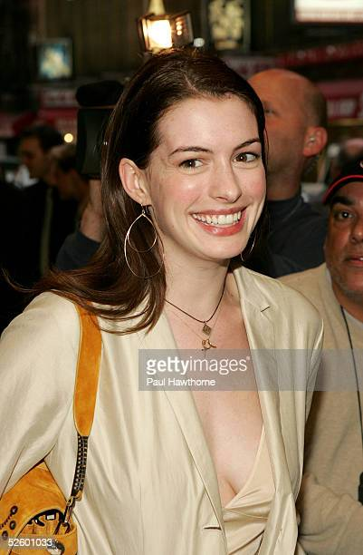Actress Anne Hathaway attends the opening night of 'On Golden Pond' at the Cort Theater April 7 2005 in New York City