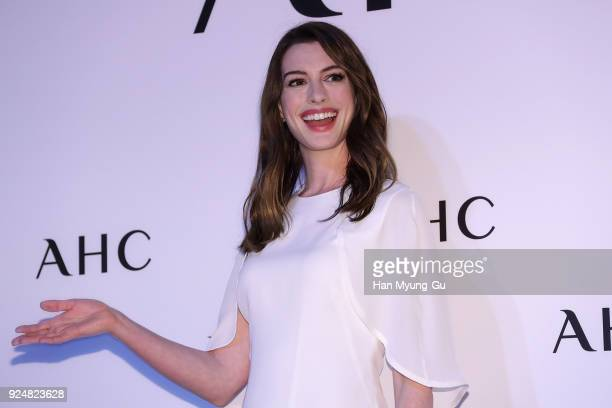 Actress Anne Hathaway attends the photocall for the 'AHC' on February 27 2018 in Seoul South Korea