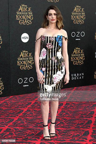 Actress Anne Hathaway attends the premiere of Disney's Alice Through The Looking Glass at the El Capitan Theatre on May 23 2016 in Hollywood...