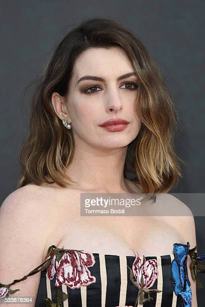 "Actress Anne Hathaway attends the premiere of Disney's ""Alice Through The Looking Glass"" at the El Capitan Theatre on May 23, 2016 in Hollywood,..."