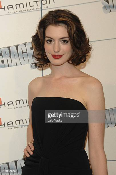 Actress Anne Hathaway attends the premiere of 'Get Smart' at Capitol Cinema on July 8 2008 in Madrid Spain