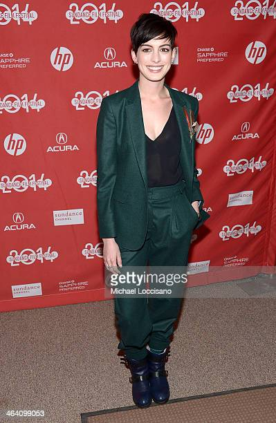 Actress Anne Hathaway attends the premiere of Song One at the Eccles Center Theatre during the 2014 Sundance Film Festival on January 20 2014 in Park...