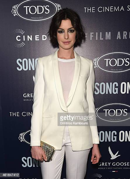 Actress Anne Hathaway attends the premiere of the Film Arcade Cinedigm's Song One hosted by the Cinema Society Tod's at Landmark's Sunshine Cinema on...