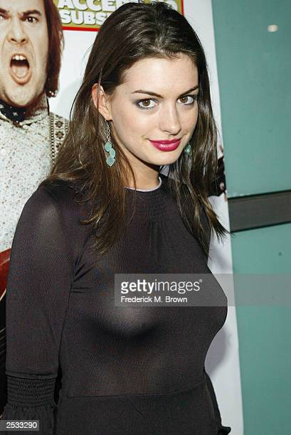 Actress Anne Hathaway attends the premiere of the movie School of Rock September 24 2003 in Hollywood California