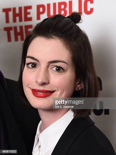 Actress Anne Hathaway attends The Public Theater's opening night celebration of Josephine And I at The Public Theater on March 10 2015 in New York...