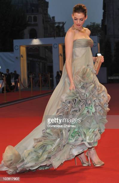 Actress Anne Hathaway attends the 'Rachel Getting Married' premiere at the Sala Grande during the 65th Venice Film Festival on September 3 2008 in...