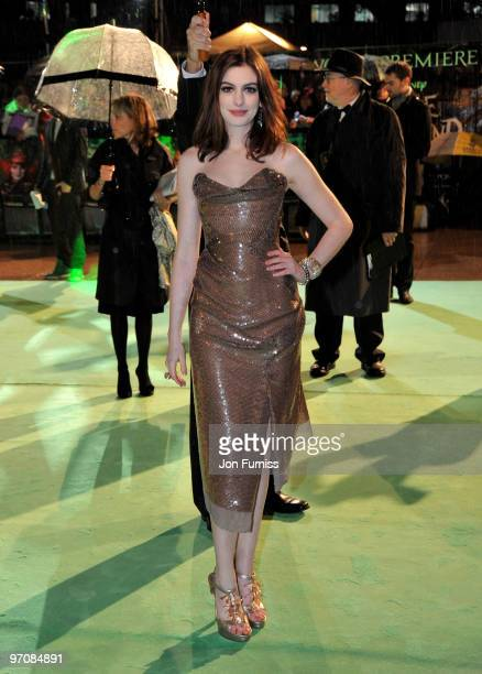 Actress Anne Hathaway attends the Royal World Premiere of Tim Burton's 'Alice In Wonderland' at the Odeon Leicester Square on February 25 2010 in...