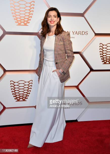 US actress Anne Hathaway attends The Shops Restaurants at Hudson Yards Preview Celebration Event on March 14 2019 in New York City