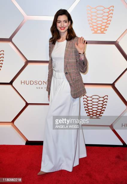 US actress Anne Hathaway attends The Shops Restaurants at Hudson Yards Presentation Celebration Event on March 14 2019 in New York City