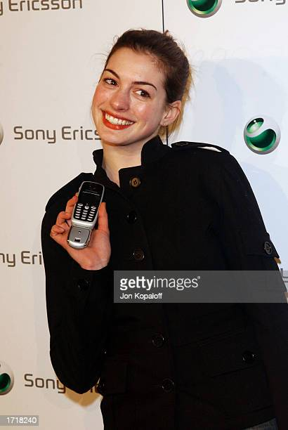 "Actress Anne Hathaway attends the ""Sony Ericsson's Hollywood Premiere Party 2003"" at The Palace on January 9, 2003 in Hollywood, California."