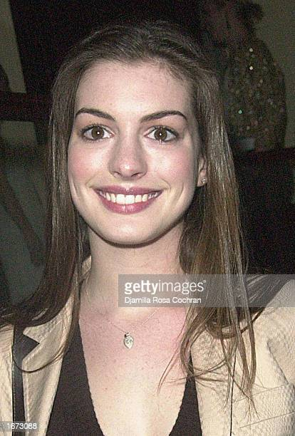 Actress Anne Hathaway attends the Sugar and Spice Naughty and Nice Fundraiser for Step Up Women's Network on December 4 2002 in New York City