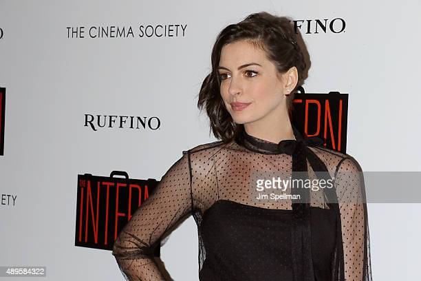 Actress Anne Hathaway attends the The Cinema Society and Ruffino host a screening of Warner Bros Pictures' The Intern at the Landmark's Sunshine...