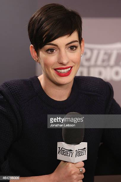 Actress Anne Hathaway attends the Variety Studio Sundance Edition presented by Dawn Levy on January 21 2014 in Park City Utah