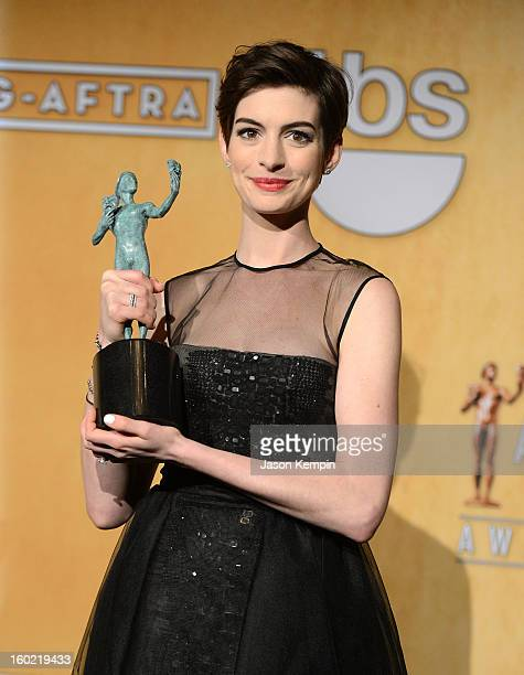 Actress Anne Hathaway attends the19th Annual Screen Actors Guild Awards Press Room at The Shrine Auditorium on January 27 2013 in Los Angeles...