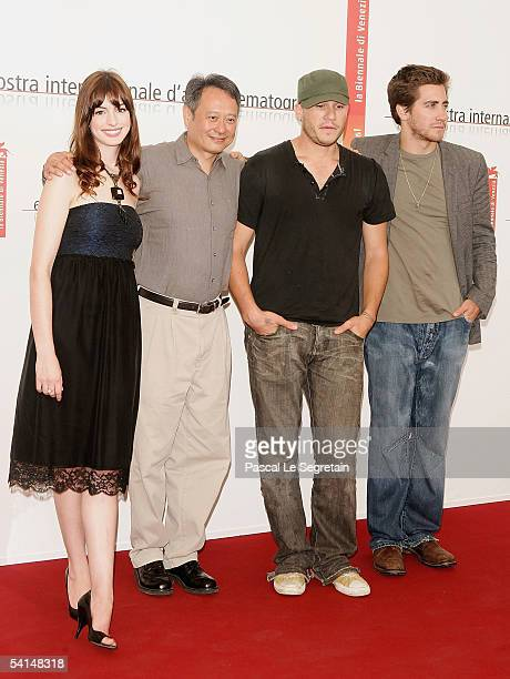Actress Anne Hathaway director Ang Lee actors Heath Ledger and Jake Gyllenhaal pose at the photocall for the competition film Brokeback Mountain at...