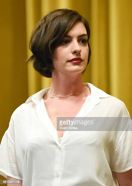 Actress Anne Hathaway does a QA after a screening of Song One at the 26th Annual Palm Springs International Film Festival Film Day 3 Film Screenings...