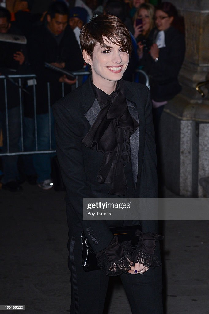 Actress Anne Hathaway enters Cipriani 42nd Street on January 8, 2013 in New York City.