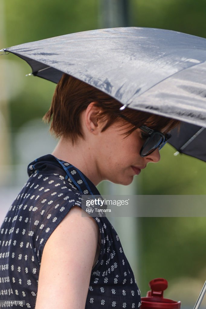 Actress Anne Hathaway enters the 'Song One' movie set in the Lower East Side on June 24, 2013 in New York City.