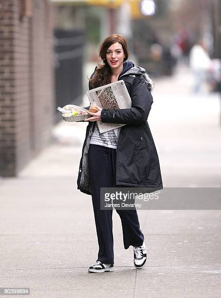 Actress Anne Hathaway filming on location for 'Bride Wars' on March 27 2008 in New York City
