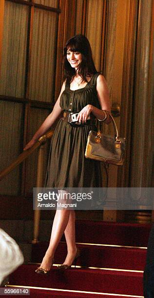 Actress Anne Hathaway films a scene of the new movie 'The Devil Wears Prada' outside the St Regis Hotel on October 19 2005 in New York City