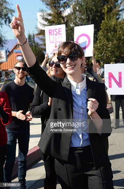 Actress Anne Hathaway helps kickoff One Billion Rising on February 14 2013 in West Hollywood California
