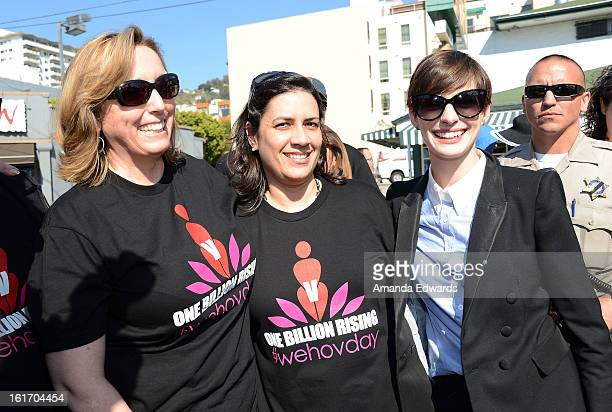 Actress Anne Hathaway helps kick-off One Billion Rising on February 14, 2013 in West Hollywood, California.